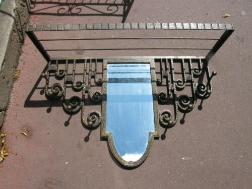 Door Coat Art Deco Mirror Forged Iron Signed J Henin