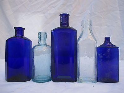 5 SUPERB BLUE GLASS CHEMIST MEDICINE APOTHECARY VINTAGE OLD BOTTLES POISON CURE