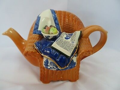 Vintage Cardew Blue Wicker Chair Teapot Designed in England Collectible *RARE*