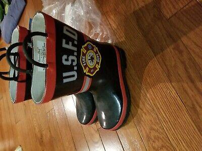 Western Chief U.S.F.D FIRE DEPARTMENT KIDS RAIN BOOTS NEW SIZE 12 BLACK Rare Kids Fire Chief Rain Boot
