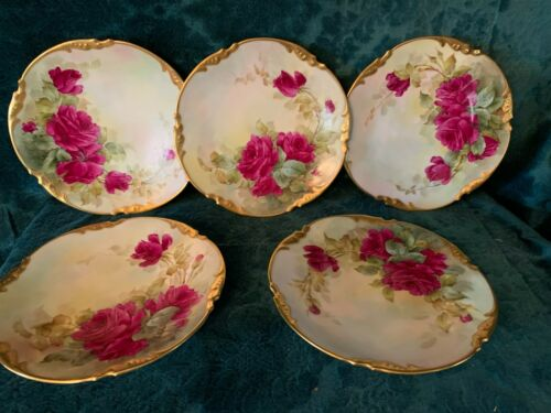 Antique French J.P. Limoges Hand Painted Dish Set Signed Sherratt