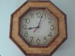 Vintage Tiki Bamboo Tropical Verichron Quartz Wall Clock