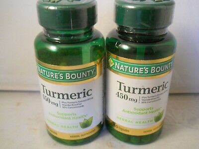 nature's bounty tumeric 450mg  60 capsules each (2pk bundle) exp 2022 450 Mg 60 Capsules