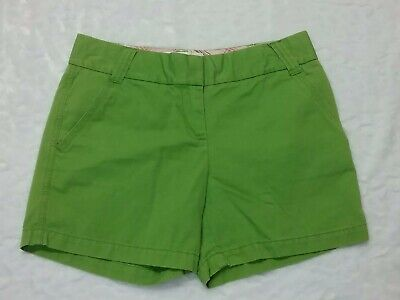 Ladies J Crew Classic Twill Chino Shorts Size 4 Apple Green Weathered City Fit