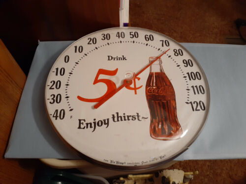 "Coca-Cola Thermometer 12"" Five Cent It Is 12"""