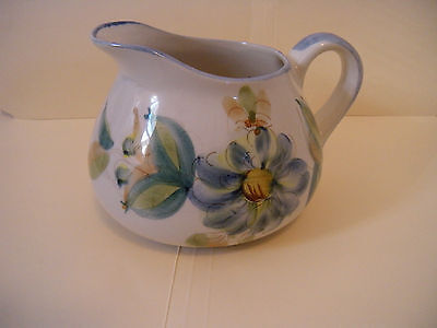 """PORTUGAL - Pitcher MARKED """"S"""" WITH DOT -  BLUES & GREENS - HANDPAINTED"""