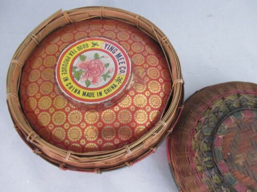 Unique Vintage Ying Mee Co Good Tea Tin / Wicker / Rattan