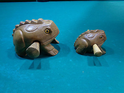 Hand Carved Wooden Croaking Frogs - One big, one small Makes Sound like Croaking