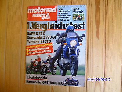 Motorrad Reisen & Sport 20/1985 BMW K 75,Honda CBX 750,Yamaha XJ 750,Kawa Z 750, gebraucht gebraucht kaufen  Fuldatal