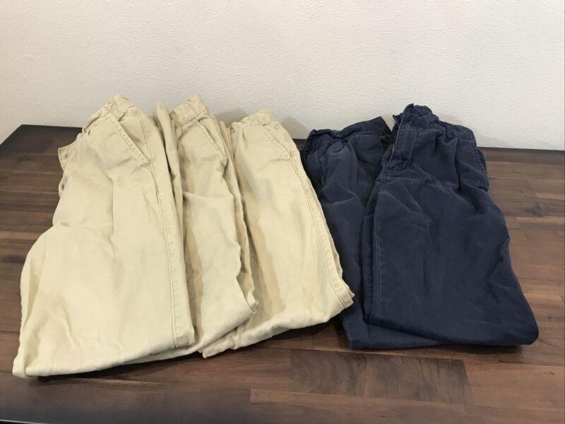 Childrens Place Slacks Boys 5 Pair Kaki/navy, Size 14s, Uniform Slacks
