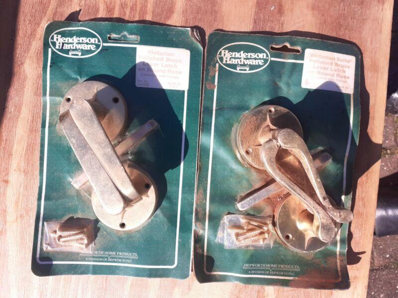 Vintage Brass door Handle set Retro Style Unused sold singular (1)