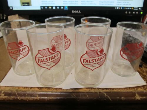 NOS [6] VINTAGE FALSTAFF BEER GLASSES 4 INCH TALL OLDIE NEAT L@@K
