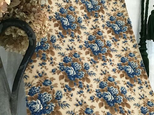 Antique French Block Printed 19th c. Cotton Fabric Curtain Panel / Yardage Roses