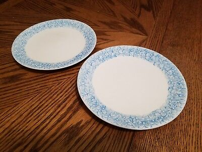 (GRACE'S TEAWARE EMBOSSED BLUE FLORAL SET OF 2 SALAD PLATES!  NEW )