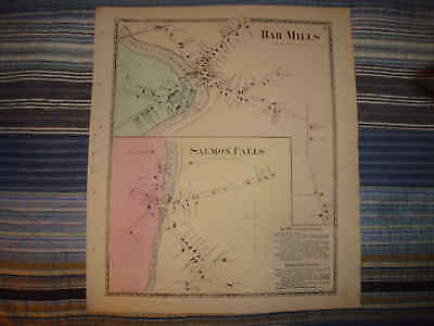 ANTIQUE BAR MILLS SALMON FALLS YORK COUNTY MAINE MAP - Mills Salmon