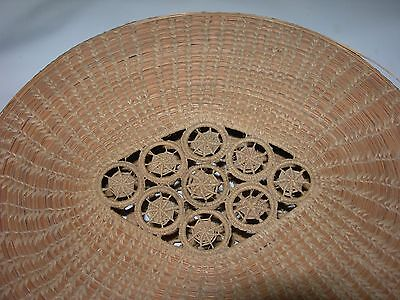Vintage~Spider Web/Dream Catcher Design~tight Woven DRYING BASKET w/Lid