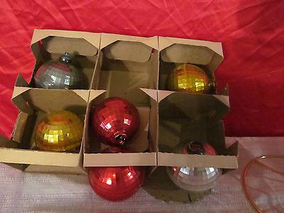 7 Vintage Plastic Multi Colored Disco Ball  Christmas Ornaments - Multi Colored Disco Ball
