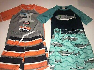 Boys GYMBOREE 2 Swim Sets UPF 50+ S/S Rash-Guards Lined Swim Trunks Sharks 2T Boys Lined Swim Trunk