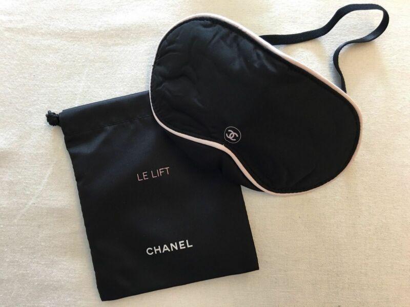 691be0e32 New CHANEL Travel Blindfold Sleeping Eye Mask with Drawstring Bag ...