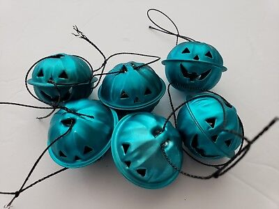 Halloween Pumpkin Turquoise Mini Bell Tree Ornaments Decorations Set of 6 - Mini Halloween Tree Ornaments