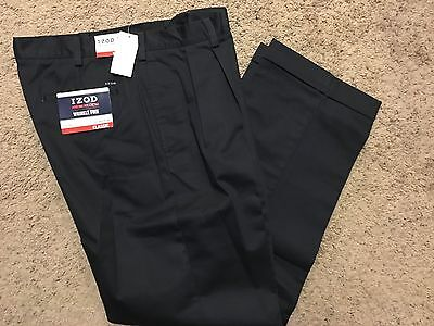 IZOD American Chino Classic-Fit Khaki Double Pleat Pant Navy 34X34 MSRP$50 -