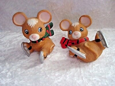 Homco Mice Ice Skating Whimsical Figurines Porcelain  (2) # 5113