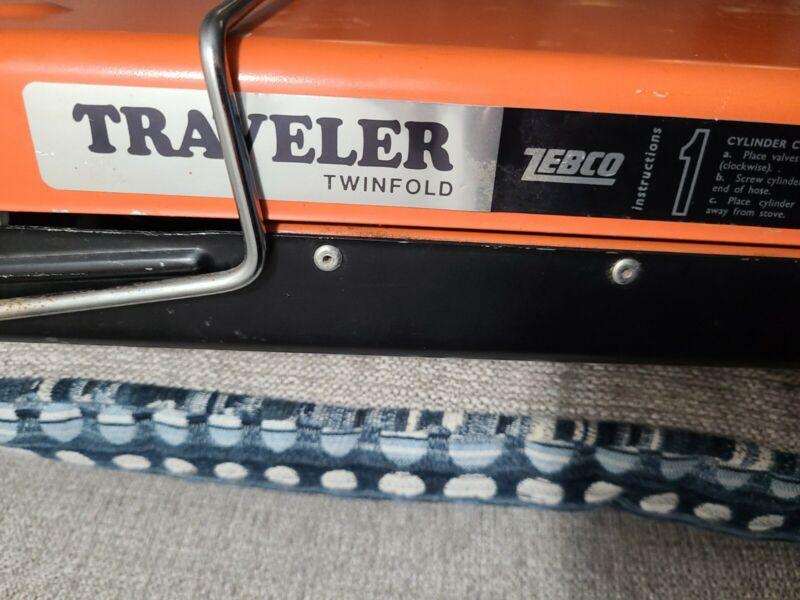 Vintage Zebco Traveler Twinfold Portable Propane Barbequer Orange