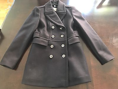 NWT BURBERRY $1095 Navy Blue Newmont CASHMERE Wool 8 Trench Pea Coat