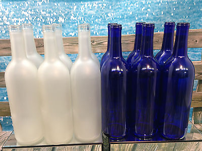 6 Blue & 6 Frosted White 750ml Wine Beer Bottles Wedding ...