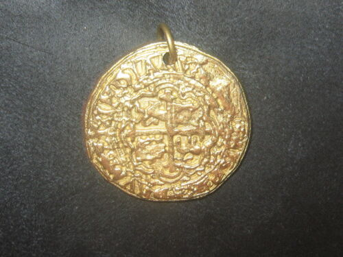 WHOLESALE LOT OF 5 GOLD PIRATE SPANISH ESCUDO COIN CROSS PENDANT NECKLACES