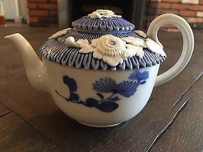 Antique Meiji Japanese Hirado Teapot Applied Mums Flowers Blue & White Porcelain