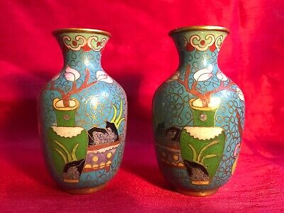 PAIR OF SMALL VINTAGE CHINESE CLOISONNE VASES 8 cm