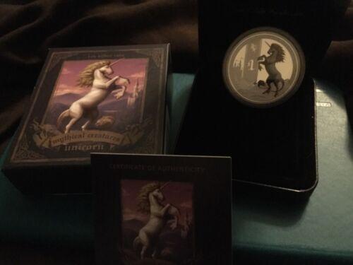 2013 1 oz Unicorn Mythical Creatures silver coin. Tuvalu OGP / COA