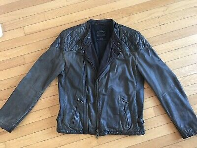 ALLSAINTS Cargo Leather Jacket Men's Small Distressed Gray Brown