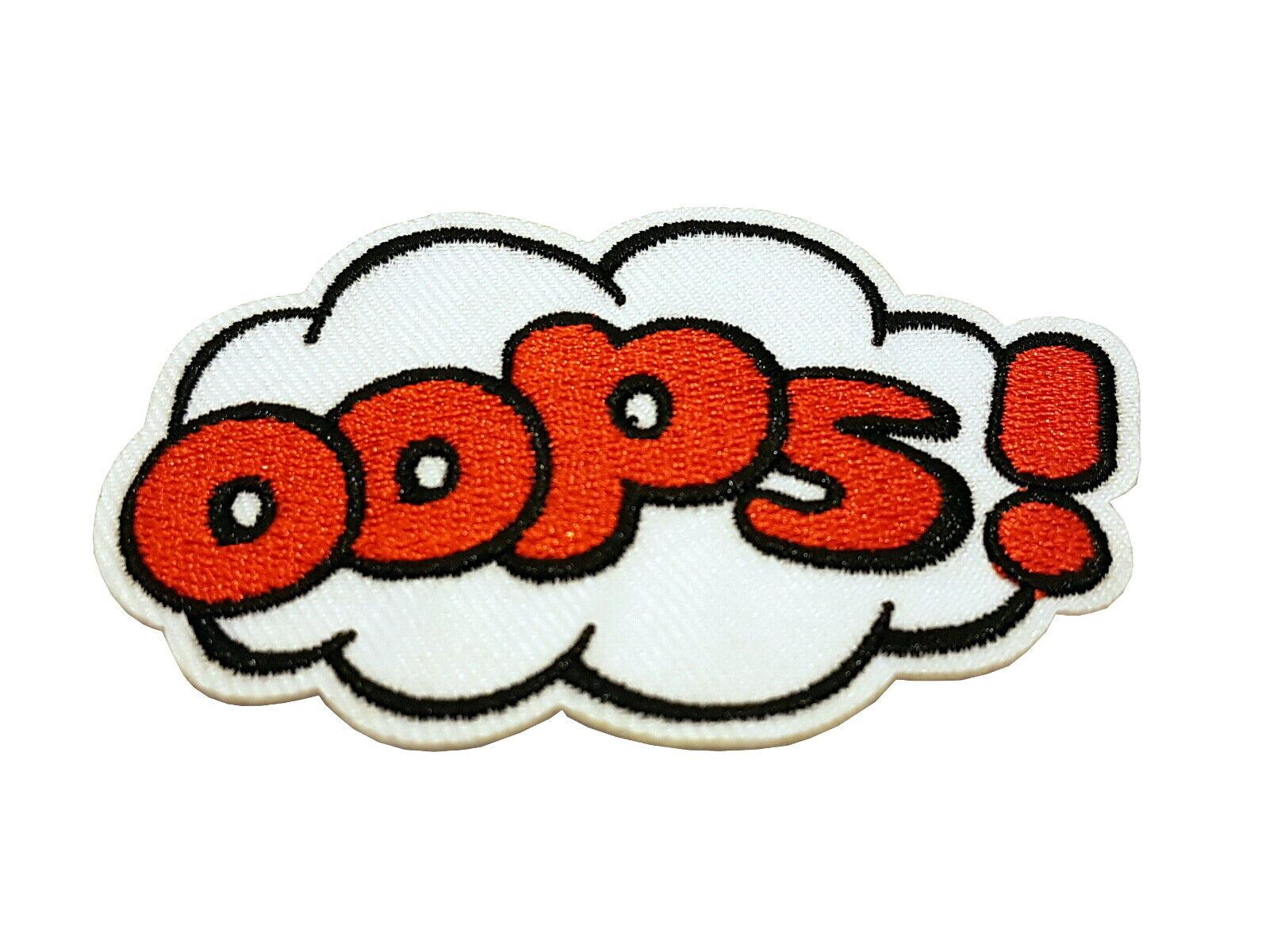Patch OOPS! - gestickter Aufnäher Flicken Bügelbild zum aufbügeln oder aufnähen