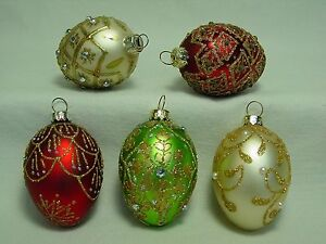NOS Set Lot 5 Blown Glass Vtg Faberge Egg Design Style Easter Xmas Tree Ornament