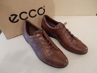 NEW ECCO Women's Corse Lace-Up Wedge Oxford Walnut Leather P