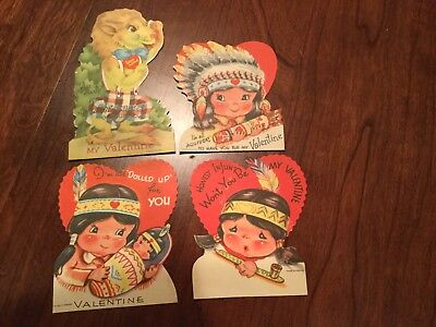 4 Antique Vintage Valentines Day Cards Indian Children Lion Made In Canada