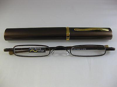 - CHOCOLATE ULTRA SLIM & TRIM Reading Glasses Gold Trim Hard Tube Case  +2.00