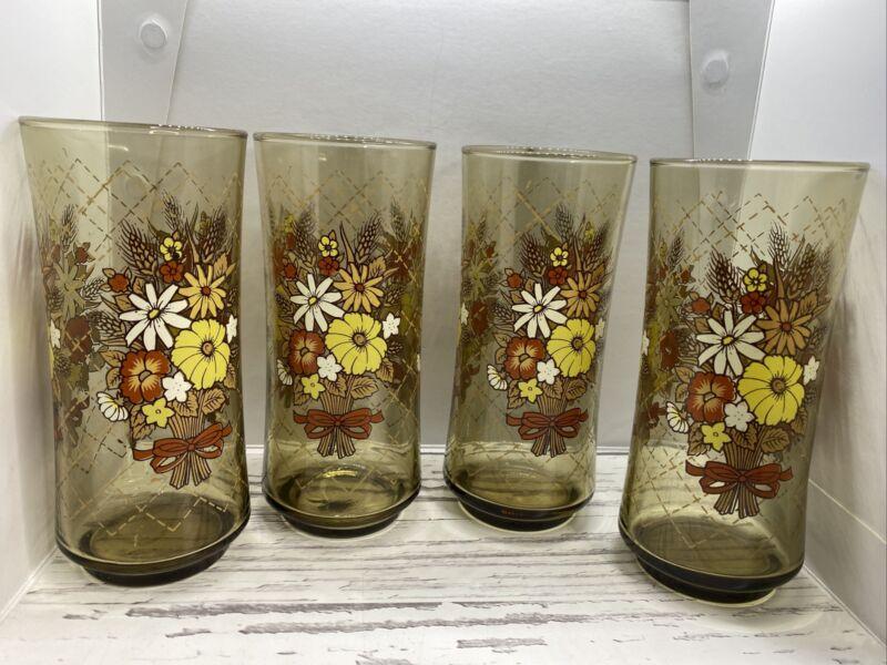 Franco Floral Juice Glasses Vintage 1970