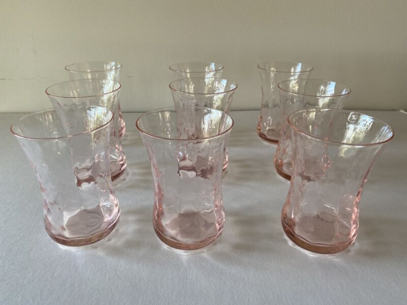 Pink Depression Glass Drinking Juice Water Glasses, Set Of 9, Bubble Dot Pattern