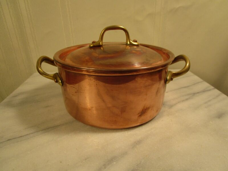 Small COPRAL Copper Pot with Lid Brass Handles - Portugal