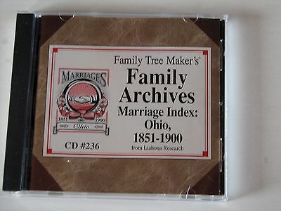 Family Tree Maker's Family Archives Marriage Index Ohio 1851-1900 OH genealogy