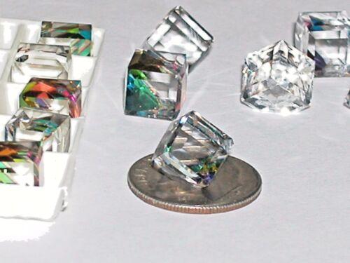2pc Crystal Cube Rainbow colors Medium Vitrail Supplies No hole 3/4 flatback 8mm