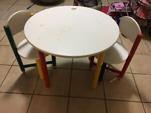 Children's craft table and chairs.