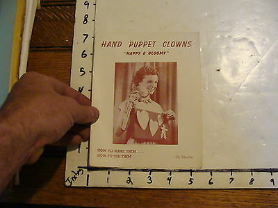 Vintage Puppet Marionette paper: HAND PUPPET CLOWNS by Martha 1 folded page