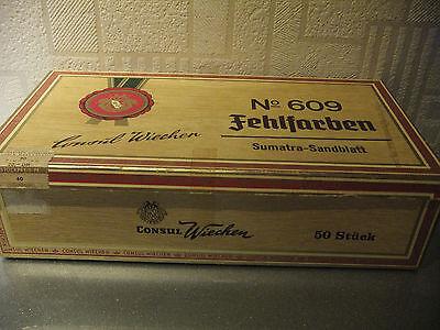 Zigarren CONSUL WIECHEN Zigarrenkiste Pappkiste No 609 Fehlfarben Sumatra !