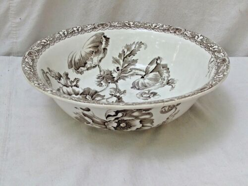 Antique Staffordshire Grimwade Poppies Large Brown Transferware Bowl