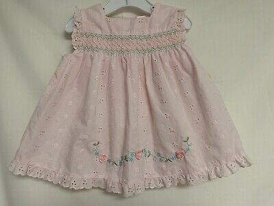 Little Bitty Infant Girl 12 Mo. Pink Eyelet Smocked Dress - Little Girl Smocked Dresses