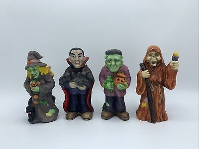 Lot Of 4 Hand Painted Halloween Monster Candle Stick Holder Decor Figurine